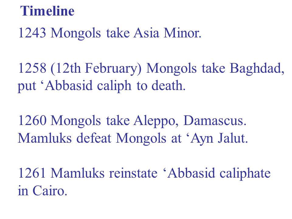 Timeline 1243 Mongols take Asia Minor.