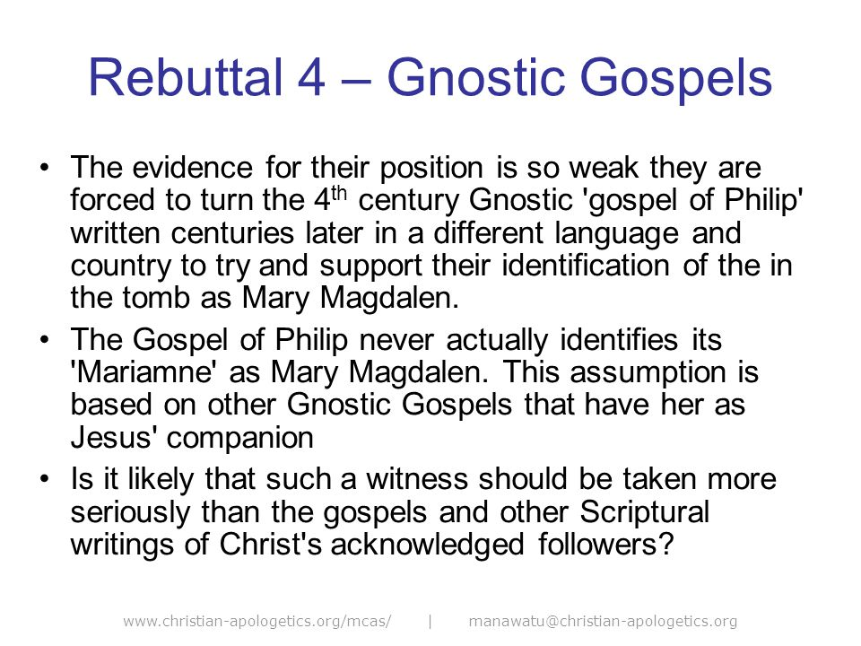 www.christian-apologetics.org/mcas/ | manawatu@christian-apologetics.org Rebuttal 5 – Scripture The author s sometimes use the Bible to try and support their position (such as Matthew s account of the Jews saying his body was stolen – Chap 28:12- 15).