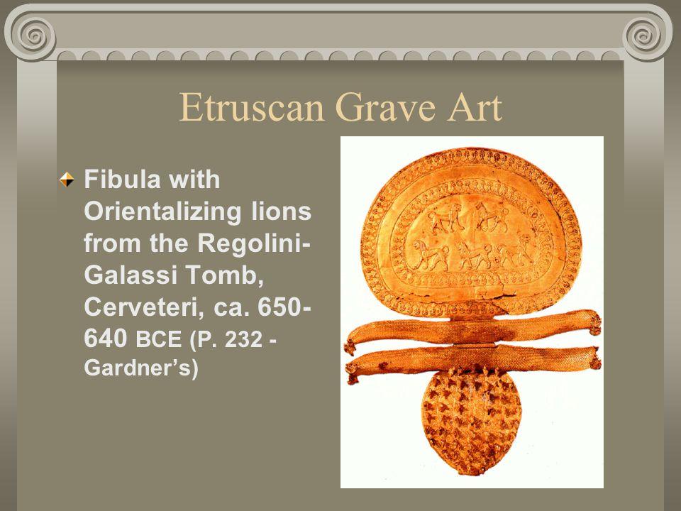 Etruscan Grave Art Fibula with Orientalizing lions from the Regolini- Galassi Tomb, Cerveteri, ca.