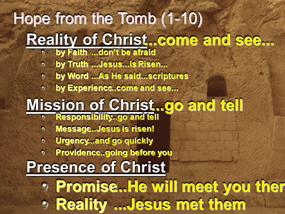 Hope from the Tomb (1-10) by Faith by Truth by Word by Experience Reality of Christ...don't be afraid...Jesus...is Risen......As He said...scriptures...come and see...