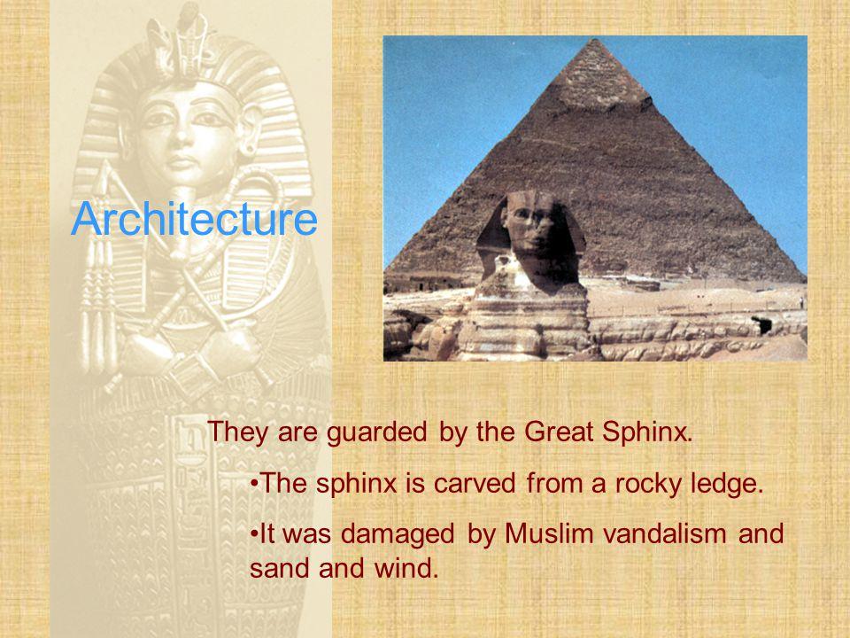 "Architecture The three ""great pyramids"" are located at Giza."