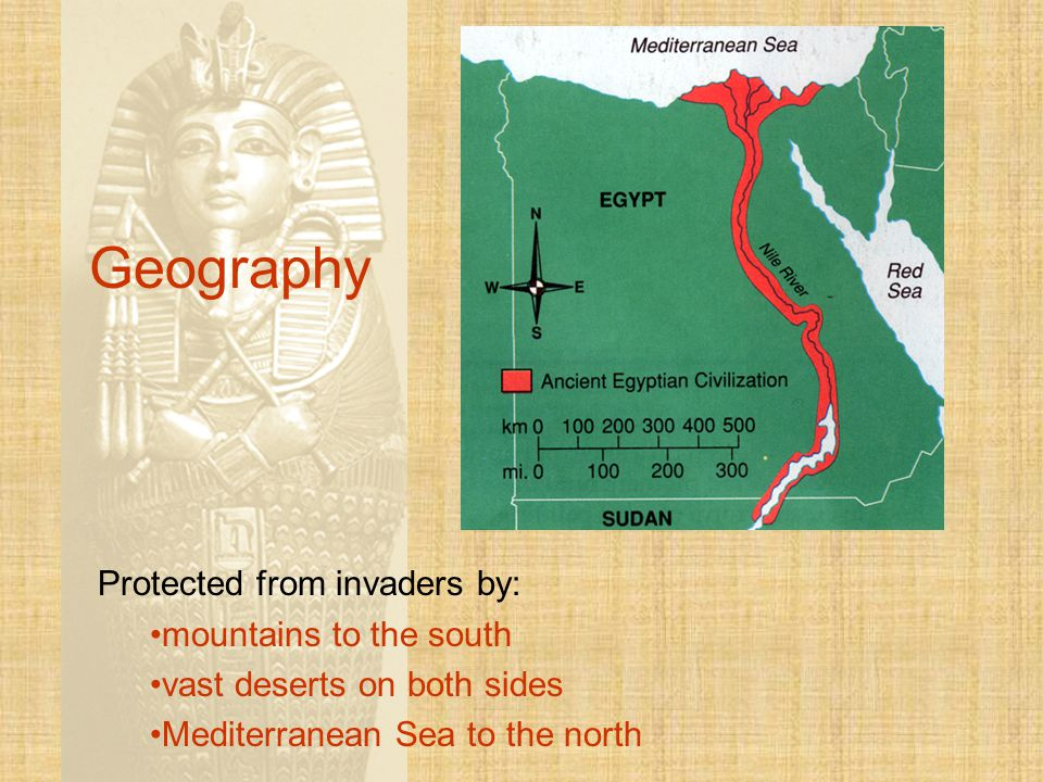 Geography Protected from invaders by: mountains to the south vast deserts on both sides Mediterranean Sea to the north