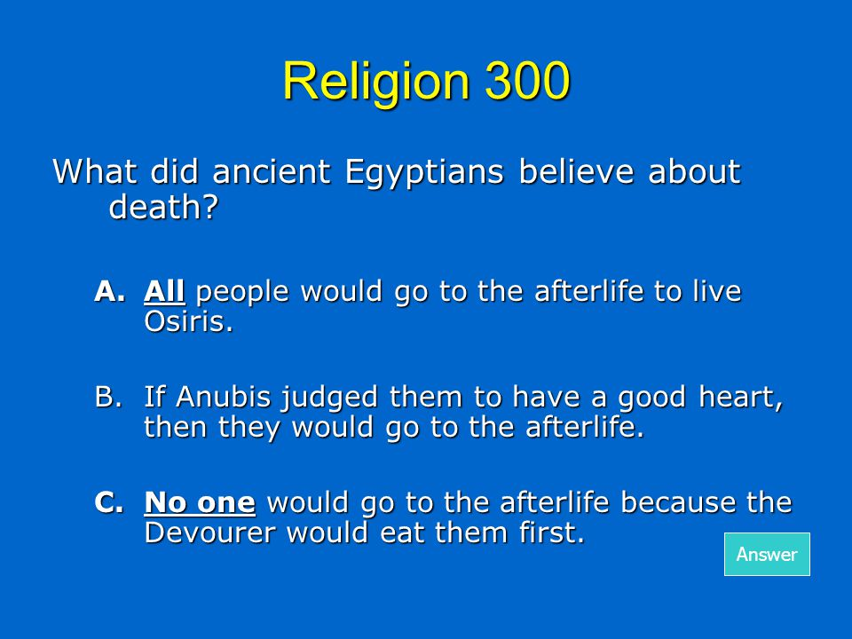 Religion 300 What did ancient Egyptians believe about death.