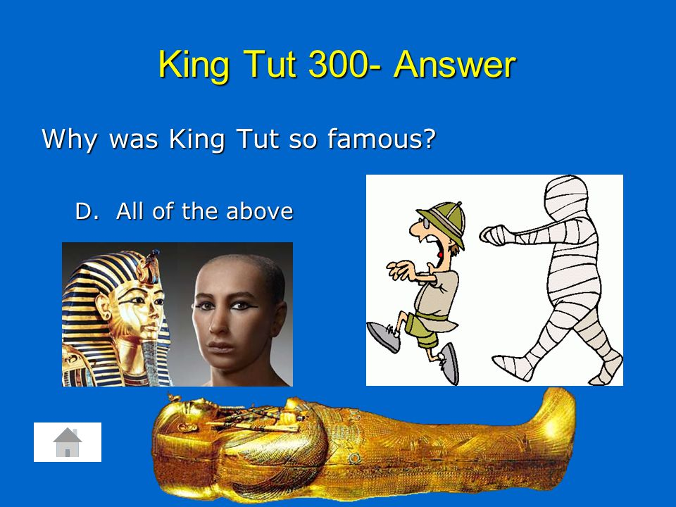 King Tut 300- Answer Why was King Tut so famous? D. All of the above