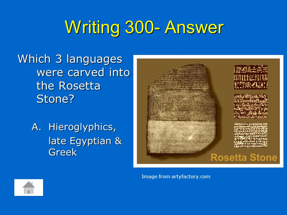 Writing 300- Answer Which 3 languages were carved into the Rosetta Stone? A.Hieroglyphics, late Egyptian & Greek Image from artyfactory.com
