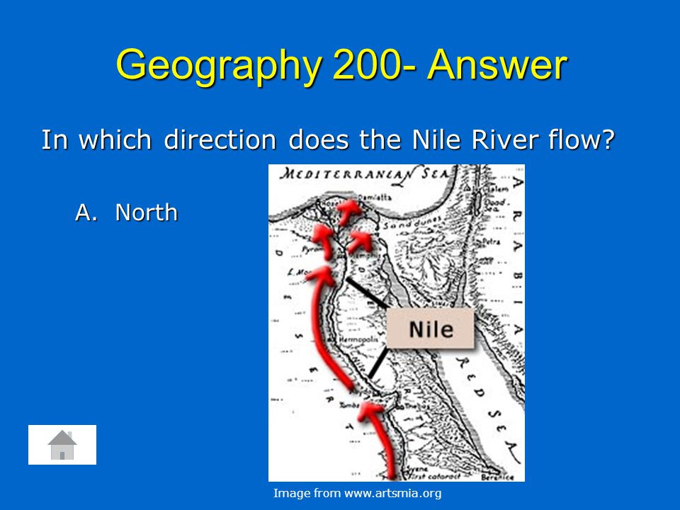 Geography 200- Answer In which direction does the Nile River flow.