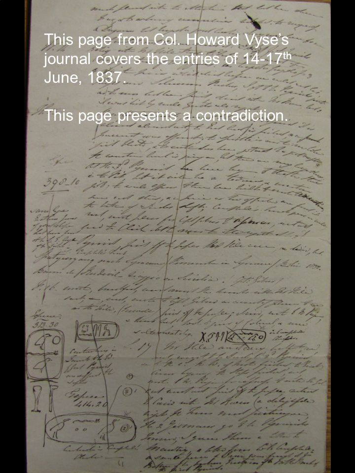 This page from Col. Howard Vyse's journal covers the entries of 14-17 th June, 1837.