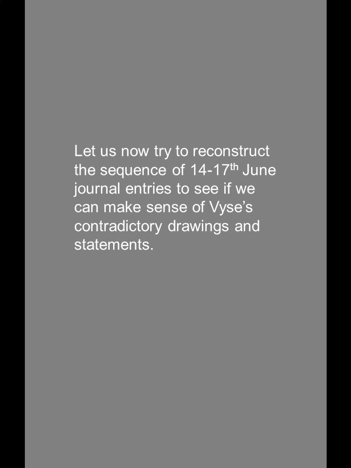 Let us now try to reconstruct the sequence of 14-17 th June journal entries to see if we can make sense of Vyse's contradictory drawings and statements.