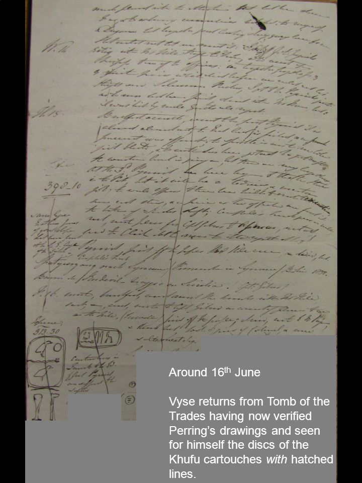 Around 16 th June Vyse returns from Tomb of the Trades having now verified Perring's drawings and seen for himself the discs of the Khufu cartouches with hatched lines.