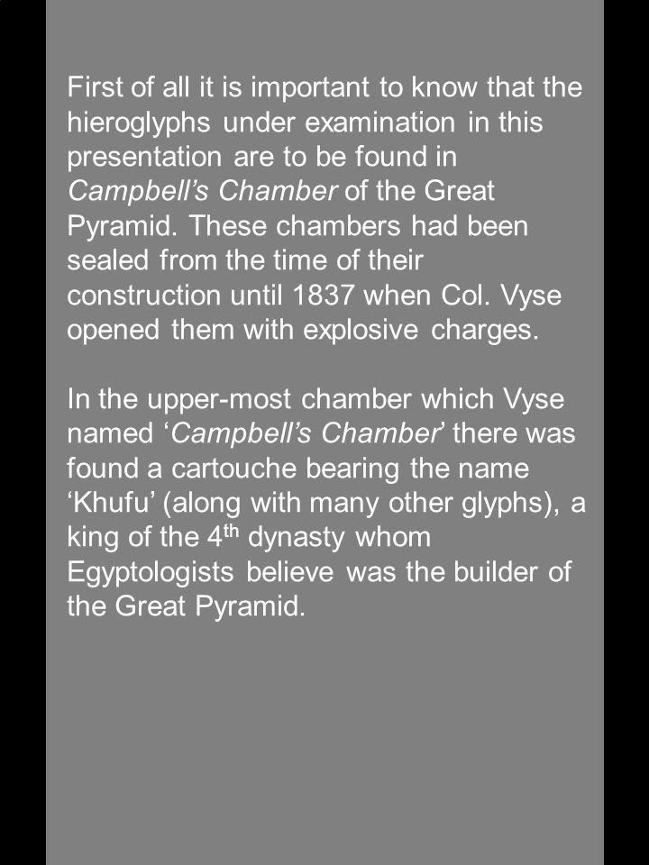 Since Vyse has drawn the disc of the Khufu cartouche twice in his journal without the 3 hatched lines, it seems clear that is how Vyse believed the disc of the Khufu cartouche should, in fact, be written—i.e.