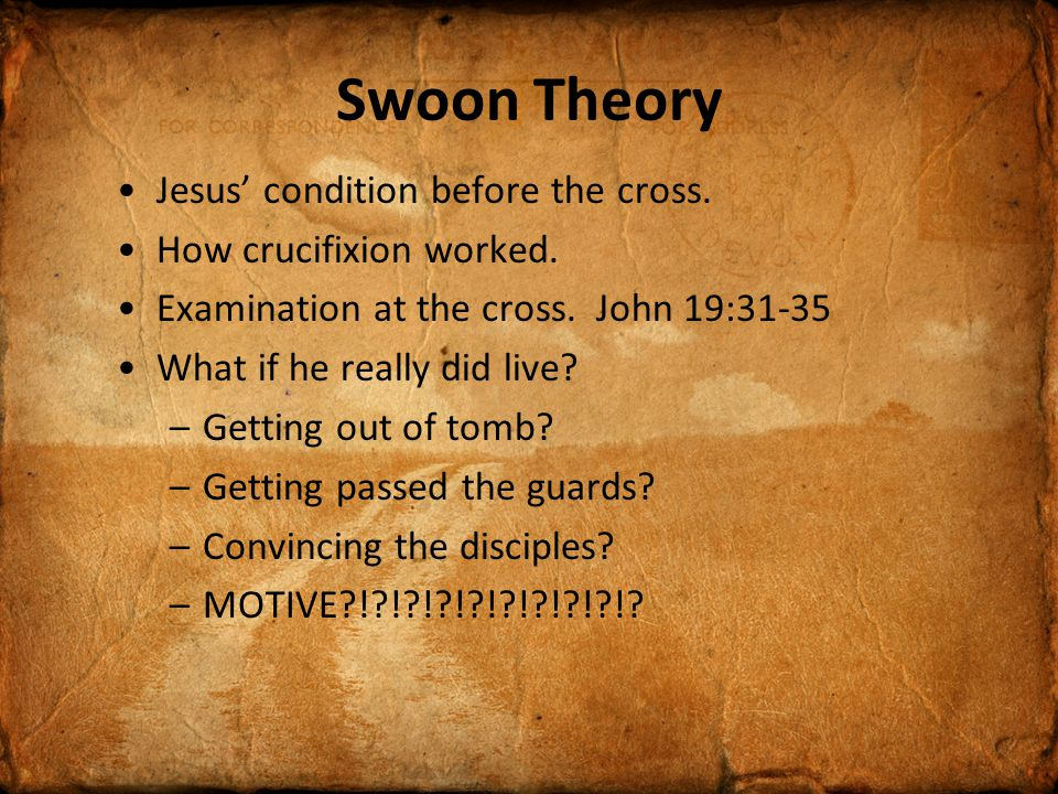 Swoon Theory Jesus' condition before the cross. How crucifixion worked.