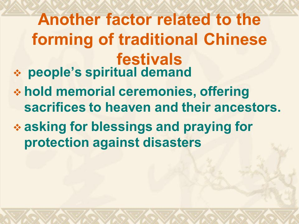 Some other Chinese festivals  Some Chinese festivals have evolved from this designation,  E.g.