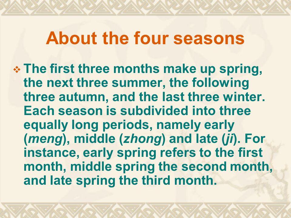 雨水 -Rain Water - 2008 年 2 月 19 日, 星期二 14:49:04 惊蛰 - Waking of Insects - 2008 年 3 月 5 日, 星期三 12:58:06 春分 -Spring Equinox - 2008 年 3 月 20 日, 星期四 13:47:46 清明 - Pure Brightness - 2008 年 4 月 4 日, 星期五 17:45:02 谷雨 - Grain Rain - 2008 年 4 月 20 日, 星期天 00:50:28 立夏 - Beginning of Summer - 2008 年 5 月 5 日, 星期一 11:02:32 小满 -Grain Full - 2008 年 5 月 21 日, 星期三 00:00:16 芒种 -Grain in Ear - 2008 年 6 月 5 日, 星期四 15:11:12 夏至 - Summer Solstice - 2008 年 6 月 21 日, 星期六 07:59:02 小暑 - Slight Heat - 2008 年 7 月 7 日, 星期一 01:26:35 大暑 - Great Heat - 2008 年 7 月 22 日, 星期二 18:54:33 立秋 -Beginning of Autumn - 2008 年 8 月 7 日, 星期四 11:15:49 处暑 - Limit of Heat - 2008 年 8 月 23 日, 星期六 02:01:48 白露 - white Dew - 2008 年 9 月 7 日, 星期天 14:13:39 秋分 -Autumnal Equinox - 2008 年 9 月 22 日, 星期一 23:44:04 寒露 - Cold Dew - 2008 年 10 月 8 日, 星期三 05:56:08 霜降 - Descent of Frost - 2008 年 10 月 23 日, 星期四 09:08:13 立冬 - Beginning of Winter - 2008 年 11 月 7 日, 星期五 09:10:01 小雪 - Slight Snow - 2008 年 11 月 22 日, 星期六 06:43:46 大雪 -Great Snow - 2008 年 12 月 7 日, 星期天 02:01:39 冬至 - Winter Solstice - 2008 年 12 月 21 日, 星期天 20:03:05 小寒 - Slight Cold - 2009 年 1 月 5 日, 星期一 13:13:27 大寒 - Great Cold - 2009 年 1 月 20 日, 星期二 06:39:40 立春 - Beginning of Spring - 2009 年 2 月 4 日, 星期三 00:49:14