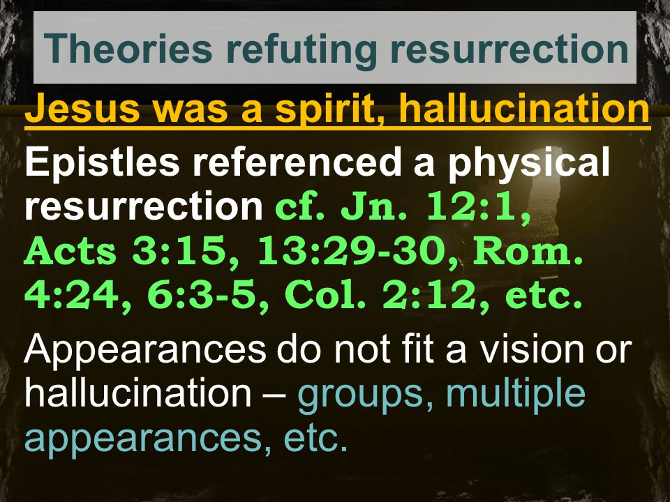 Theories refuting resurrection Body stolen by disciples Cf.