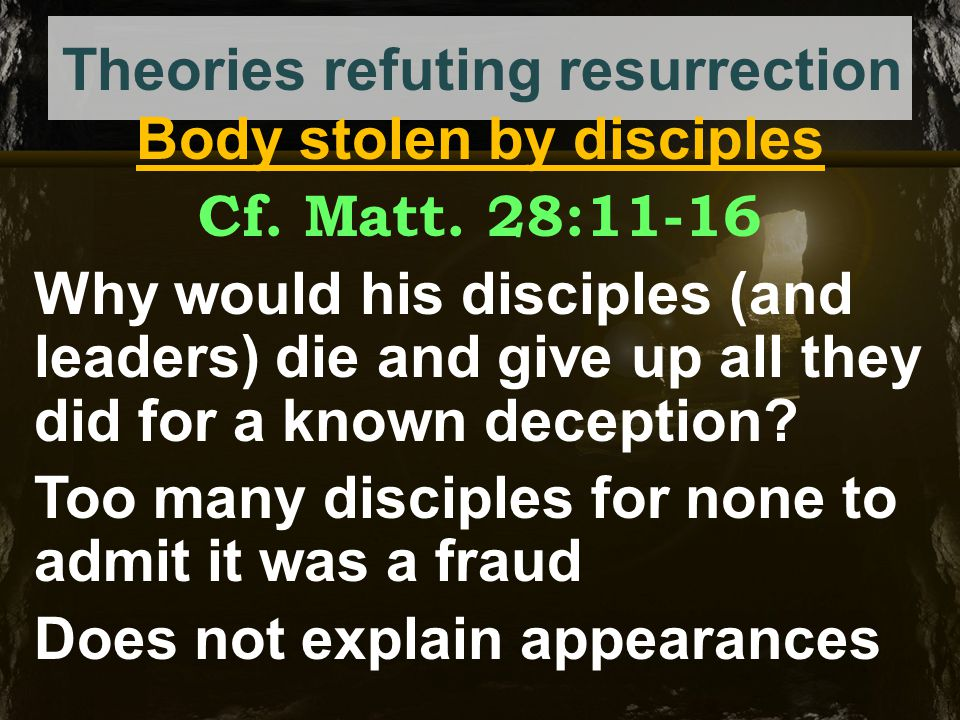 Theories refuting resurrection Body stolen by enemies Why did they not produce the body when resurrection was preached.