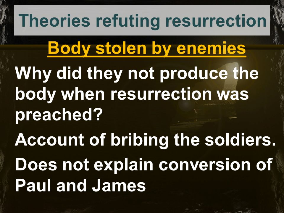 Theories refuting resurrection Wrong tomb Several women, Joseph and Nicodemus all knew the place.
