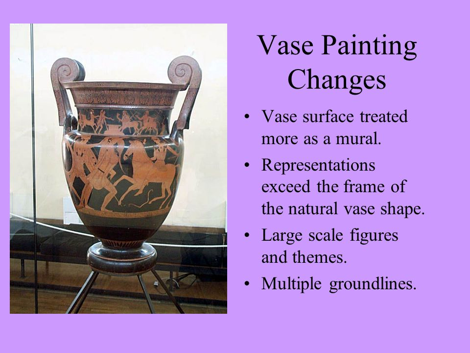 Vase Painting Changes Vase surface treated more as a mural.