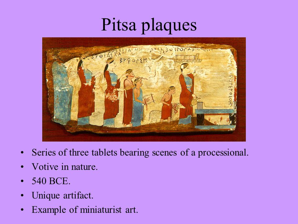 Pitsa plaques Series of three tablets bearing scenes of a processional.