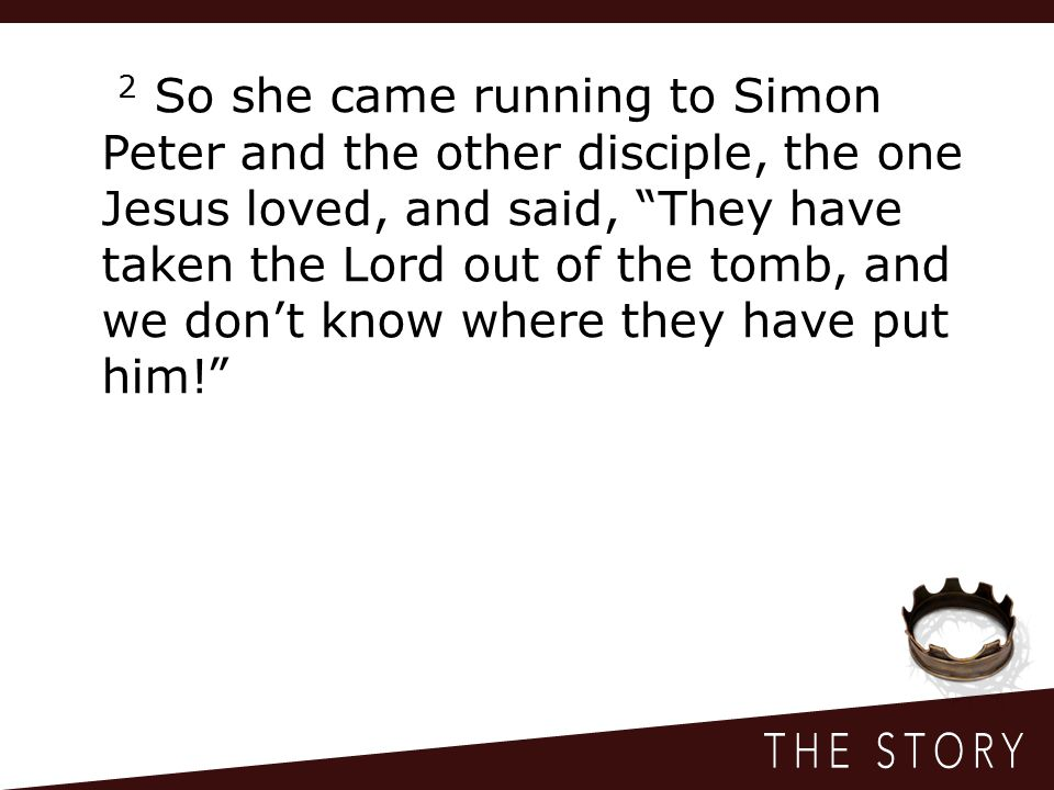 2 So she came running to Simon Peter and the other disciple, the one Jesus loved, and said, They have taken the Lord out of the tomb, and we don't know where they have put him!