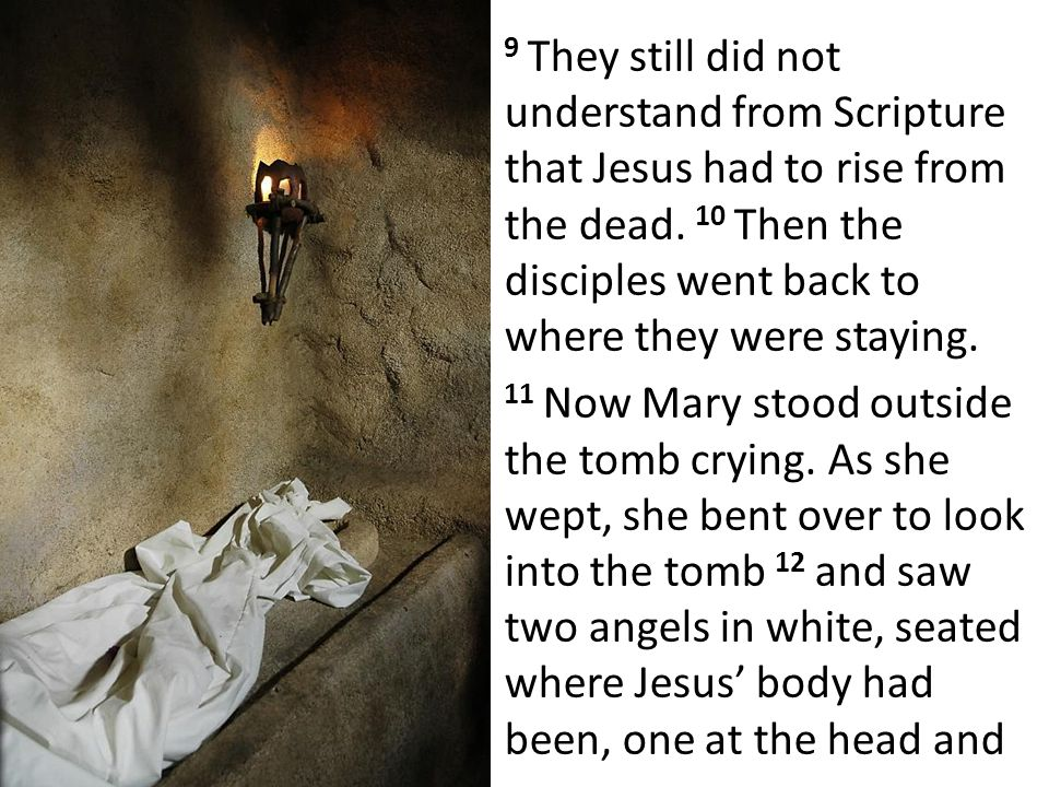 9 They still did not understand from Scripture that Jesus had to rise from the dead.