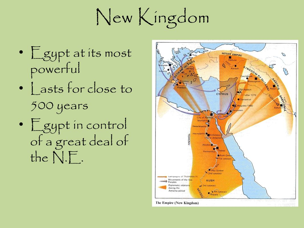 New Kingdom Egypt at its most powerful Lasts for close to 500 years Egypt in control of a great deal of the N.E.