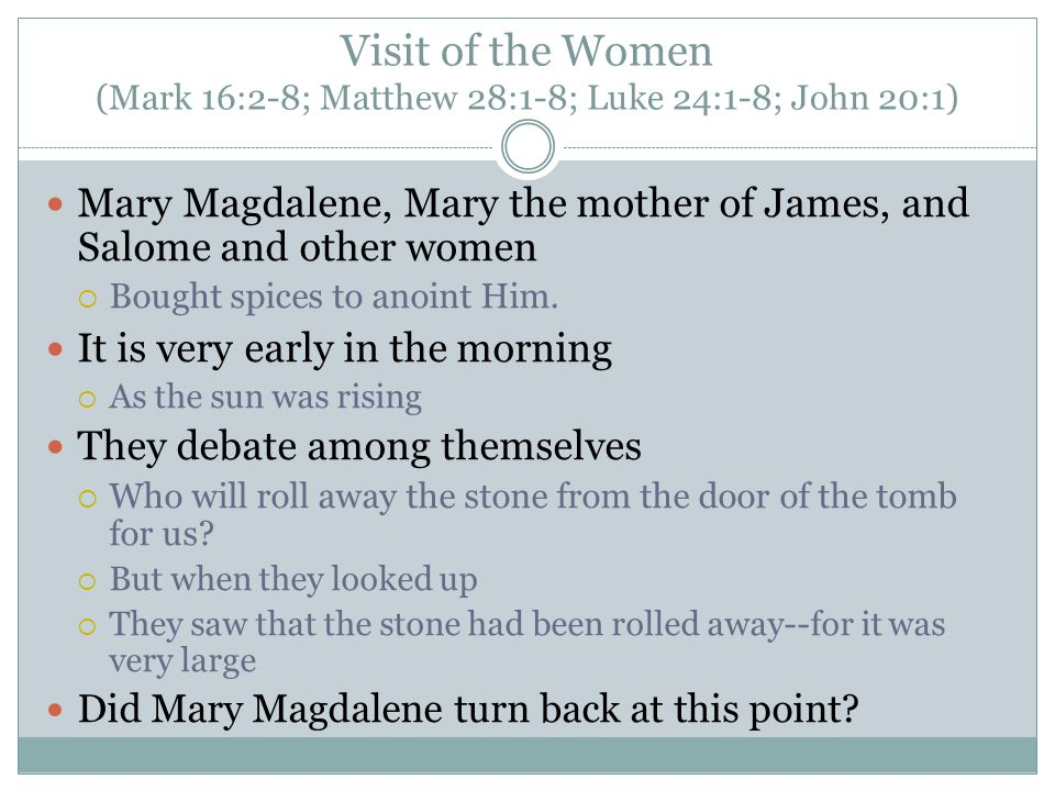 Visit of the Women (Mark 16:2-8; Matthew 28:1-8; Luke 24:1-8; John 20:1) Mary Magdalene, Mary the mother of James, and Salome and other women  Bought