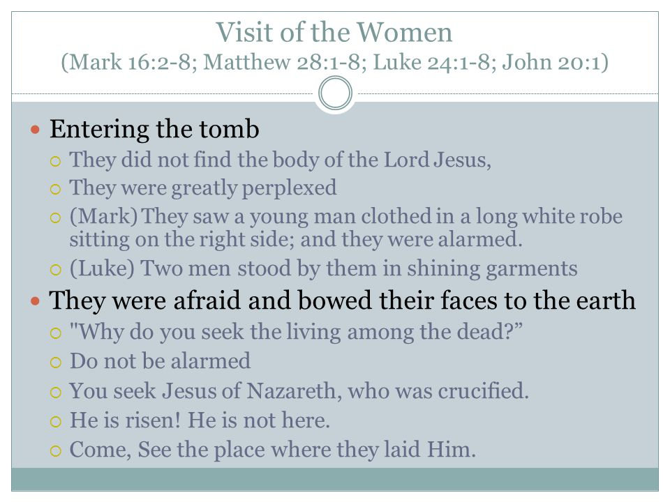 Visit of the Women (Mark 16:2-8; Matthew 28:1-8; Luke 24:1-8; John 20:1) Entering the tomb  They did not find the body of the Lord Jesus,  They were greatly perplexed  (Mark) They saw a young man clothed in a long white robe sitting on the right side; and they were alarmed.