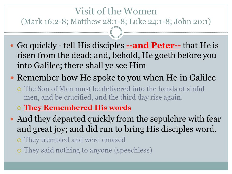 Visit of the Women (Mark 16:2-8; Matthew 28:1-8; Luke 24:1-8; John 20:1) Go quickly - tell His disciples --and Peter-- that He is risen from the dead;