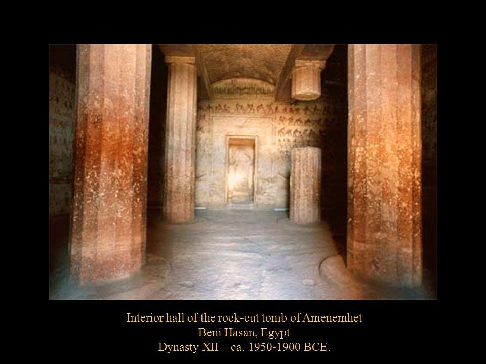 Interior hall of the rock-cut tomb of Amenemhet Beni Hasan, Egypt Dynasty XII – ca. 1950-1900 BCE.