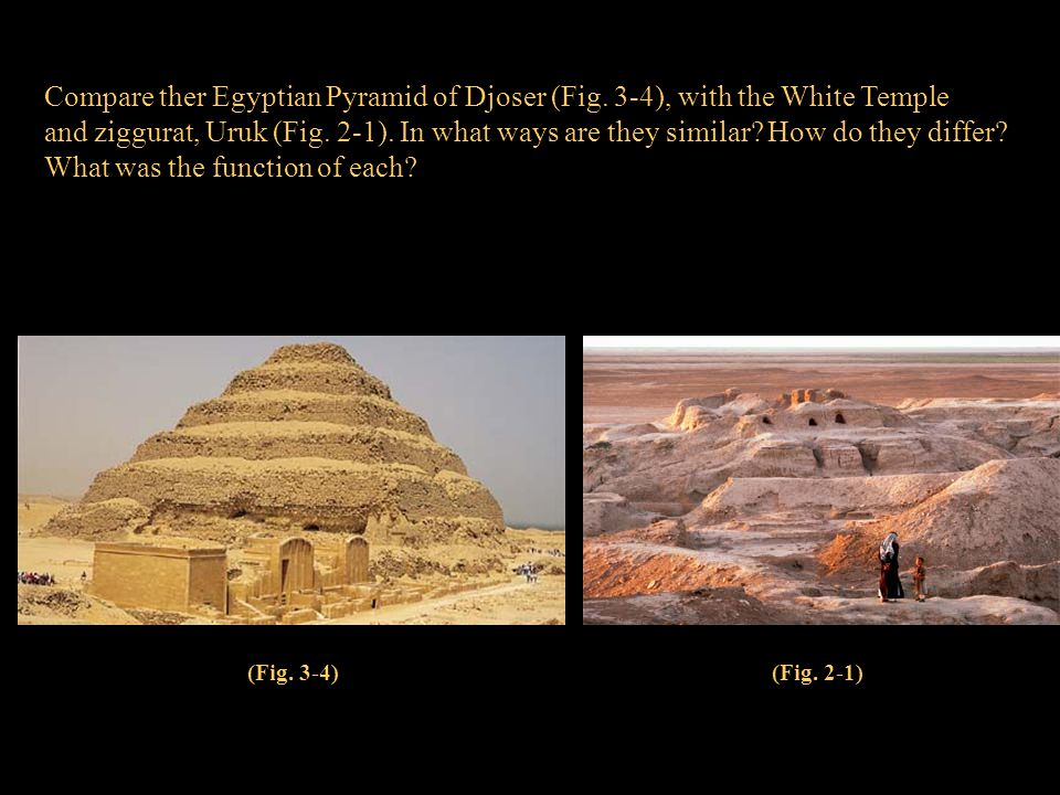 Compare ther Egyptian Pyramid of Djoser (Fig. 3-4), with the White Temple and ziggurat, Uruk (Fig. 2-1). In what ways are they similar? How do they di