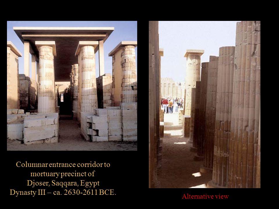 Columnar entrance corridor to mortuary precinct of Djoser, Saqqara, Egypt Dynasty III – ca. 2630-2611 BCE. Alternative view