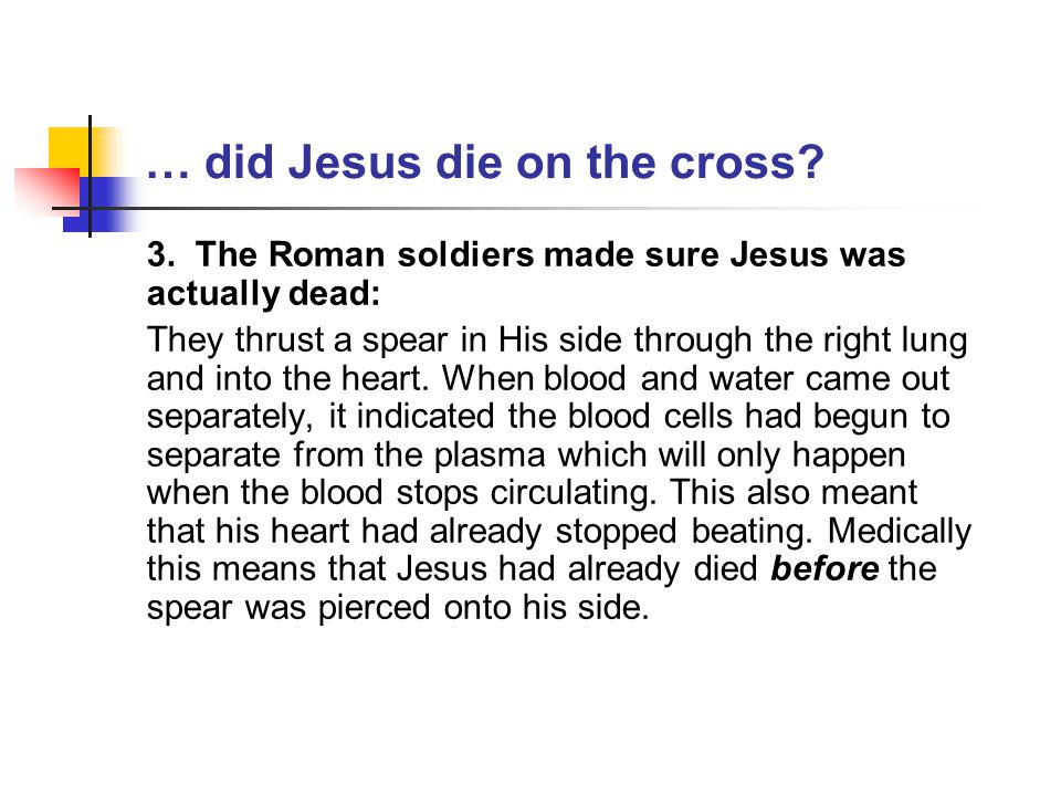 … where was Jesus' missing body.2.