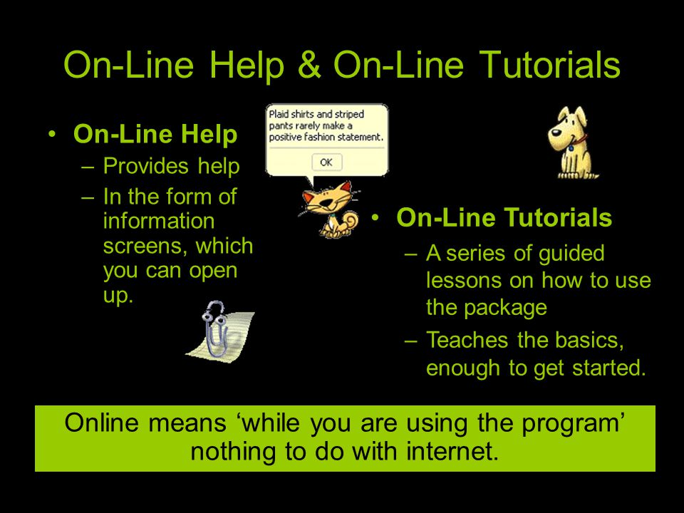 On-Line Help & On-Line Tutorials Online means 'while you are using the program' nothing to do with internet.