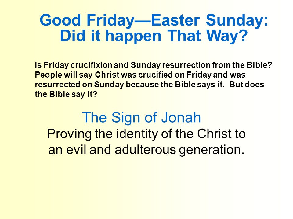 The Sign of Jonah Proving the identity of the Christ to an evil and adulterous generation.