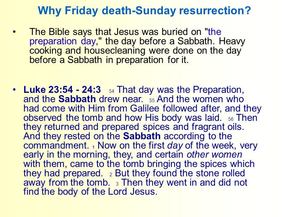 Why Friday death-Sunday resurrection.