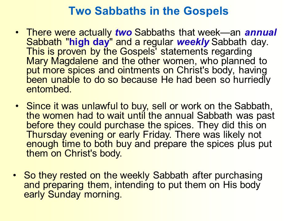 Two Sabbaths in the Gospels Since it was unlawful to buy, sell or work on the Sabbath, the women had to wait until the annual Sabbath was past before they could purchase the spices.