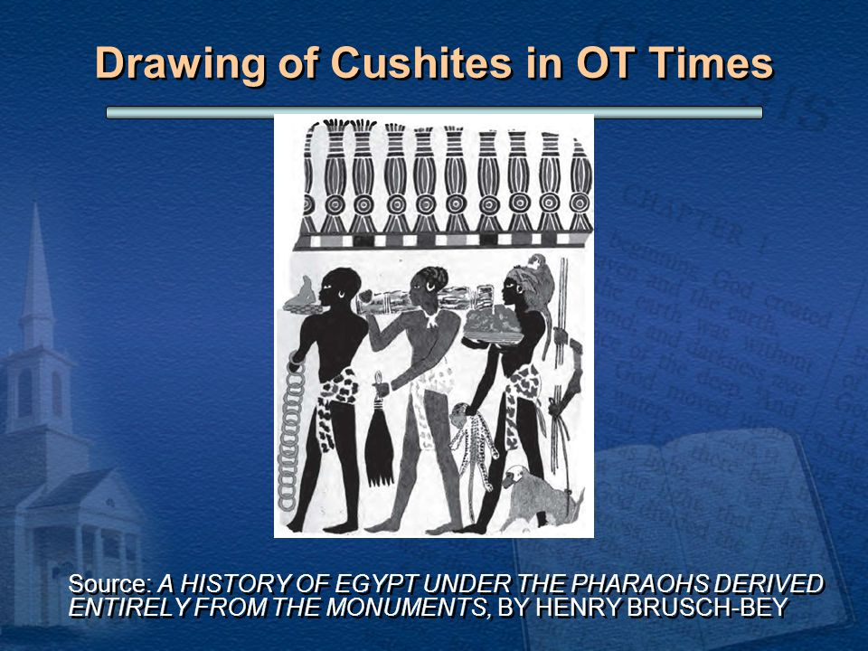 Drawing of Cushites in OT Times Source: A HISTORY OF EGYPT UNDER THE PHARAOHS DERIVED ENTIRELY FROM THE MONUMENTS, BY HENRY BRUSCH-BEY