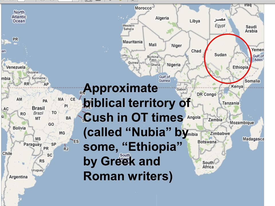 "Approximate biblical territory of Cush in OT times (called ""Nubia"" by some, ""Ethiopia"" by Greek and Roman writers)"