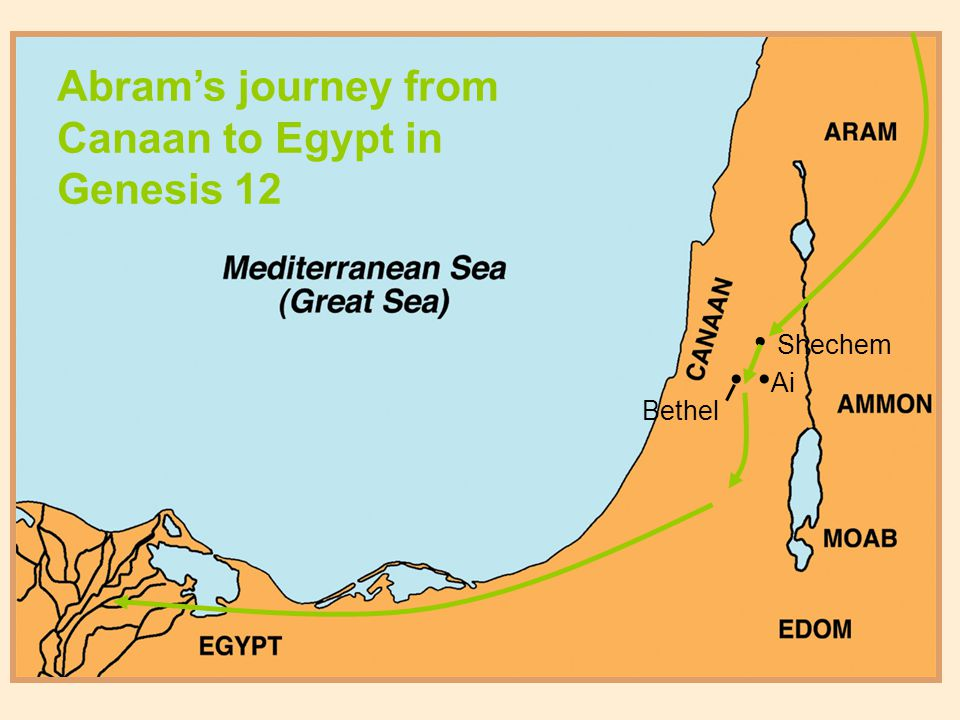 Shechem Ai Bethel Abram's journey from Canaan to Egypt in Genesis 12