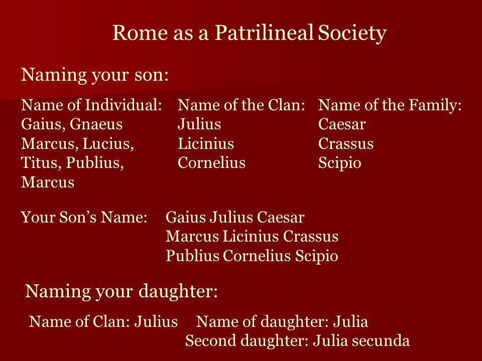 Rome as a Patrilineal Society Naming your son: Name of Individual: Gaius, Gnaeus Marcus, Lucius, Titus, Publius, Marcus Name of the Clan: Julius Licinius Cornelius Name of the Family: Caesar Crassus Scipio Your Son's Name:Gaius Julius Caesar Marcus Licinius Crassus Publius Cornelius Scipio Naming your daughter: Name of Clan: Julius Name of daughter: Julia Second daughter: Julia secunda