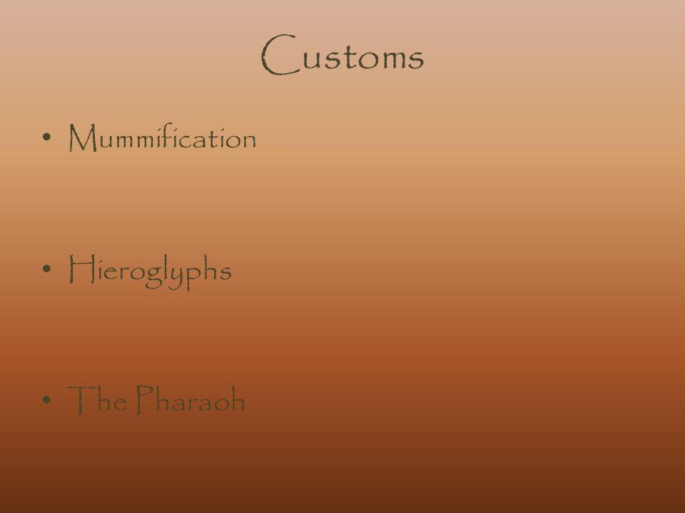 Customs Mummification Hieroglyphs The Pharaoh