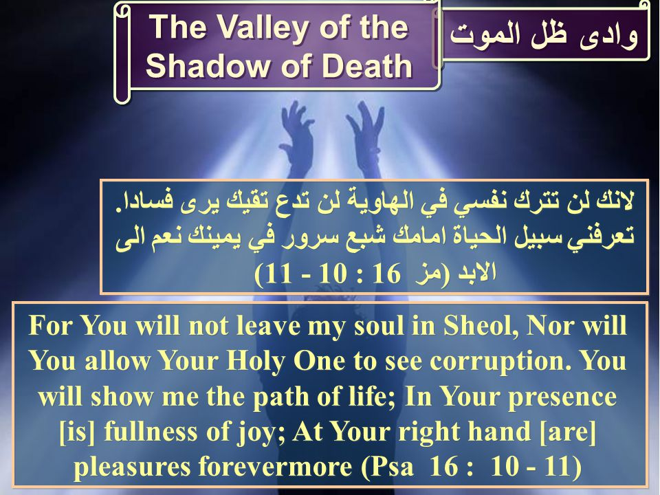 وادى ظل الموت For You will not leave my soul in Sheol, Nor will You allow Your Holy One to see corruption.