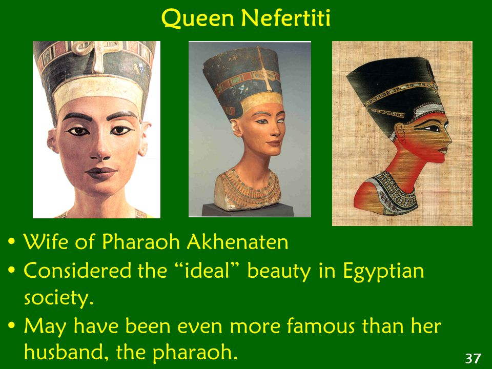"Wife of Pharaoh Akhenaten Considered the ""ideal"" beauty in Egyptian society. May have been even more famous than her husband, the pharaoh. Queen Nefer"