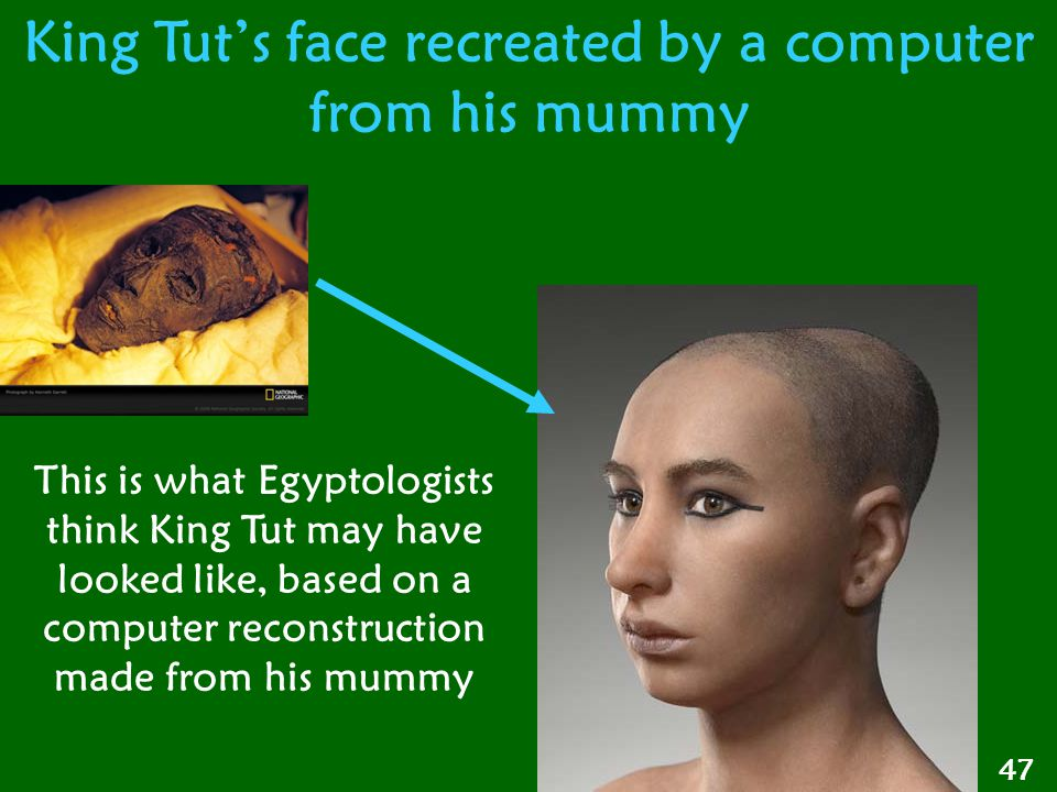 47 King Tut's face recreated by a computer from his mummy This is what Egyptologists think King Tut may have looked like, based on a computer reconstr