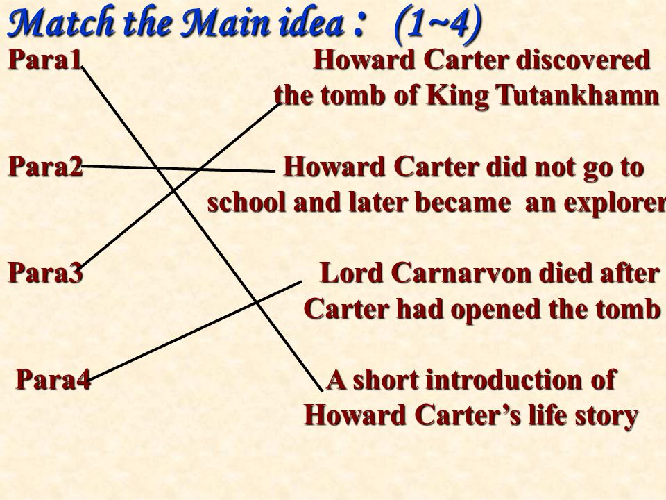 Match the Main idea : (1~4) Para1 Howard Carter discovered the tomb of King Tutankhamn the tomb of King Tutankhamn Para2 Howard Carter did not go to school and later became an explorer school and later became an explorer Para3 Lord Carnarvon died after Carter had opened the tomb Carter had opened the tomb Para4 A short introduction of Para4 A short introduction of Howard Carter's life story Howard Carter's life story