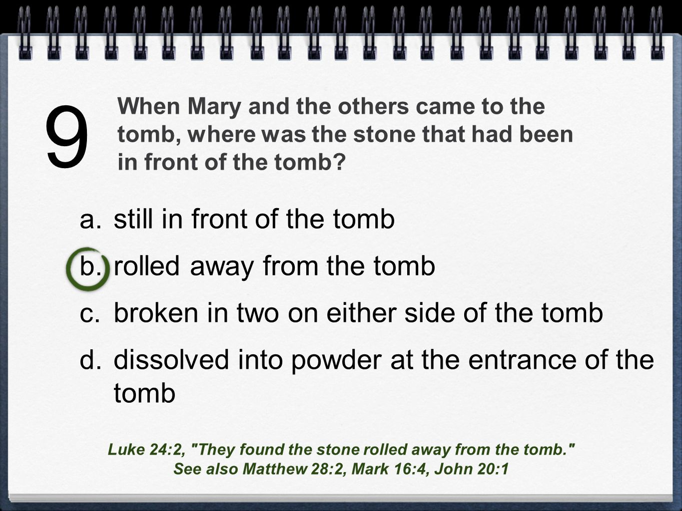 When Mary and the others came to the tomb, where was the stone that had been in front of the tomb.