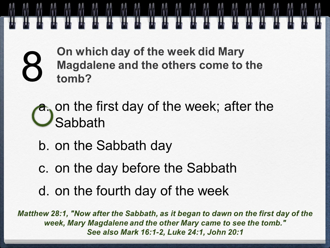 On which day of the week did Mary Magdalene and the others come to the tomb.