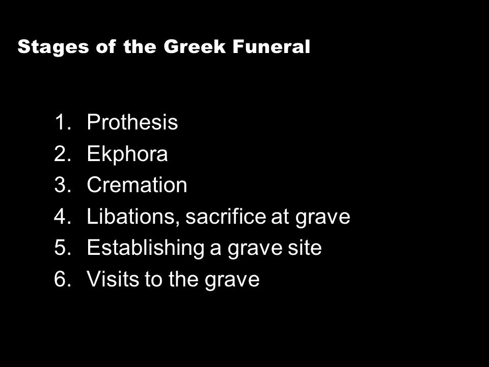 1.Prothesis 2.Ekphora 3.Cremation 4.Libations, sacrifice at grave 5.Establishing a grave site 6.Visits to the grave Stages of the Greek Funeral