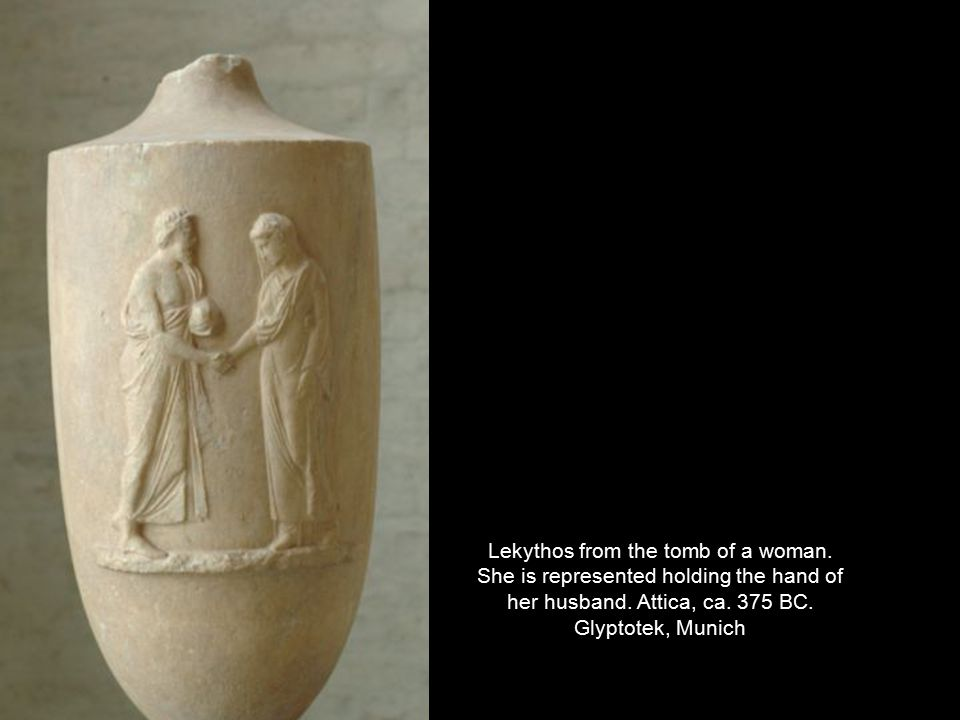 Lekythos from the tomb of a woman. She is represented holding the hand of her husband.