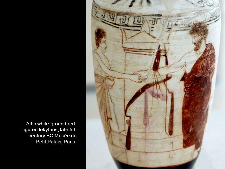 Attic white-ground red- figured lekythos, late 5th century BC.Musée du Petit Palais, Paris.